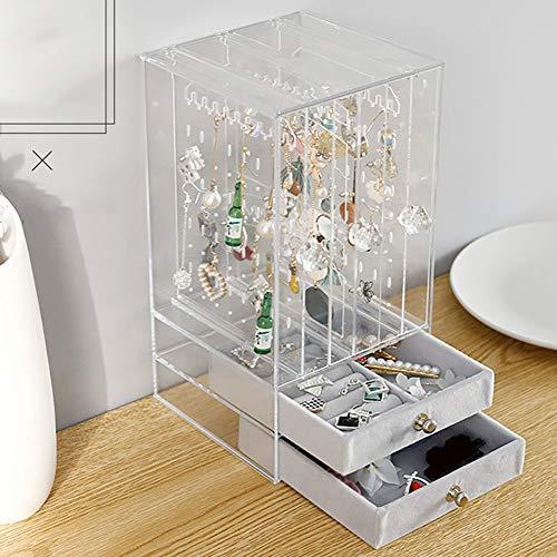 Organizador de joyas, expositor de joyas con 2 cajones, para pendientes, acrílico transparente, bandeja organizador de maquillaje para joyas, collar y pulsera