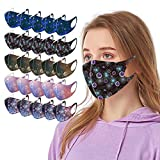 Christmas Black Face_Masks for Adults,Holiday Face Coverings Valentine's Day Print Washable Reusable Adult Face Balaclava Dustproof Scarf