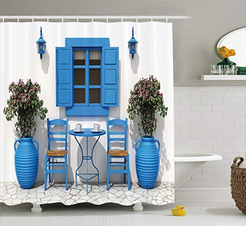 N/ Reisedekor Duschvorhang traditionelles griechisches Design Urlaub Sommerhaus Blumen Fenster Bild Stoff Badezimmer Dekor mit Haken Extra Lang Marineblau & Weiß 183 x 183 cm