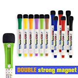 Mag-Fancy Dry Erase Markers Fine Point - Magnetic Whiteboard Markers - 9 Assorted Colors, 12 Pack Low Odor