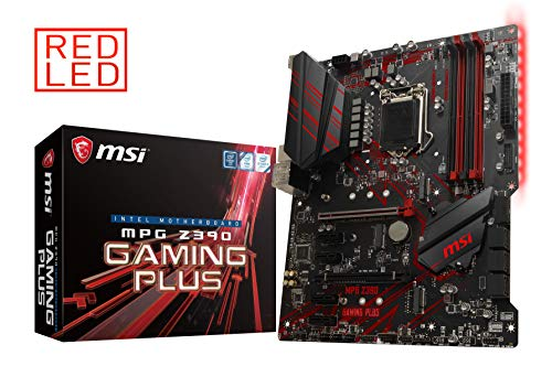 MSI MPG Z390 Gaming Plus Motherboard ATX, LGA1151, DDR4, LAN, USB 3.1 Gen2, Type-C, M.2, Red Ambient Light, HDMI, DVI-D, Intel 8. und 9. Generation