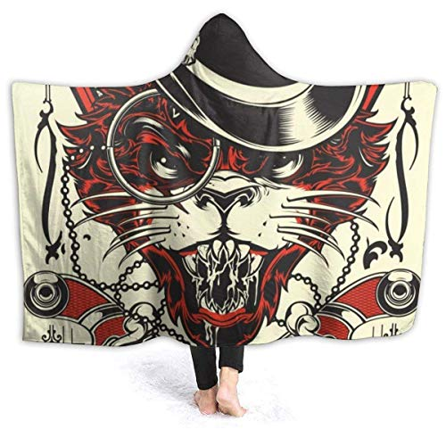LAVYINGY Black Scary Cat with Glasses Skull Throw Blankets Wrap with Hood Super Soft Comfy Comforter Men Women 3D Printing Sherpa Plush Fleece Wearable Hooded Blanket 50'x60'