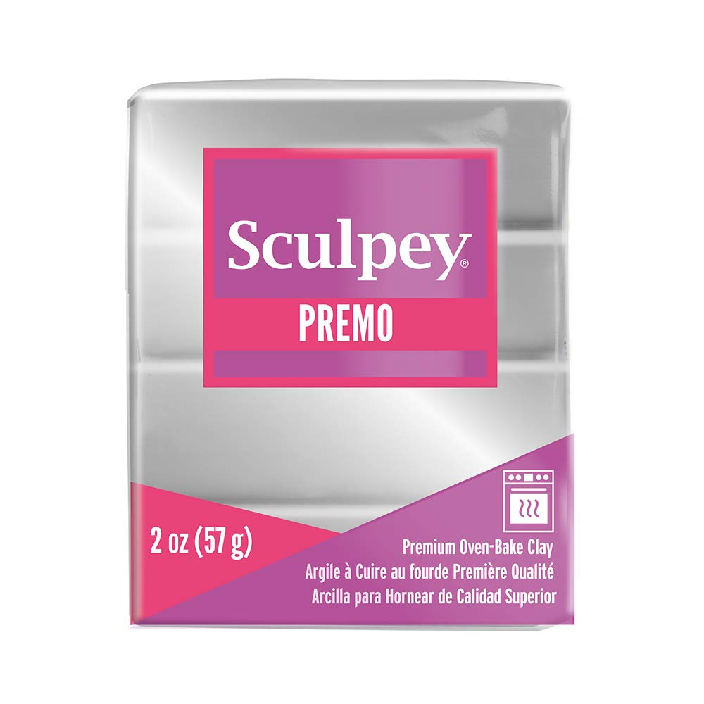 Sculpey Premo Polymer Oven-Bake Clay, Silver, Non Toxic, 2 oz. bar, Great for jewelry making, holiday, DIY, mixed media and home décor projects. Premium clay perfect for clayers and artists.