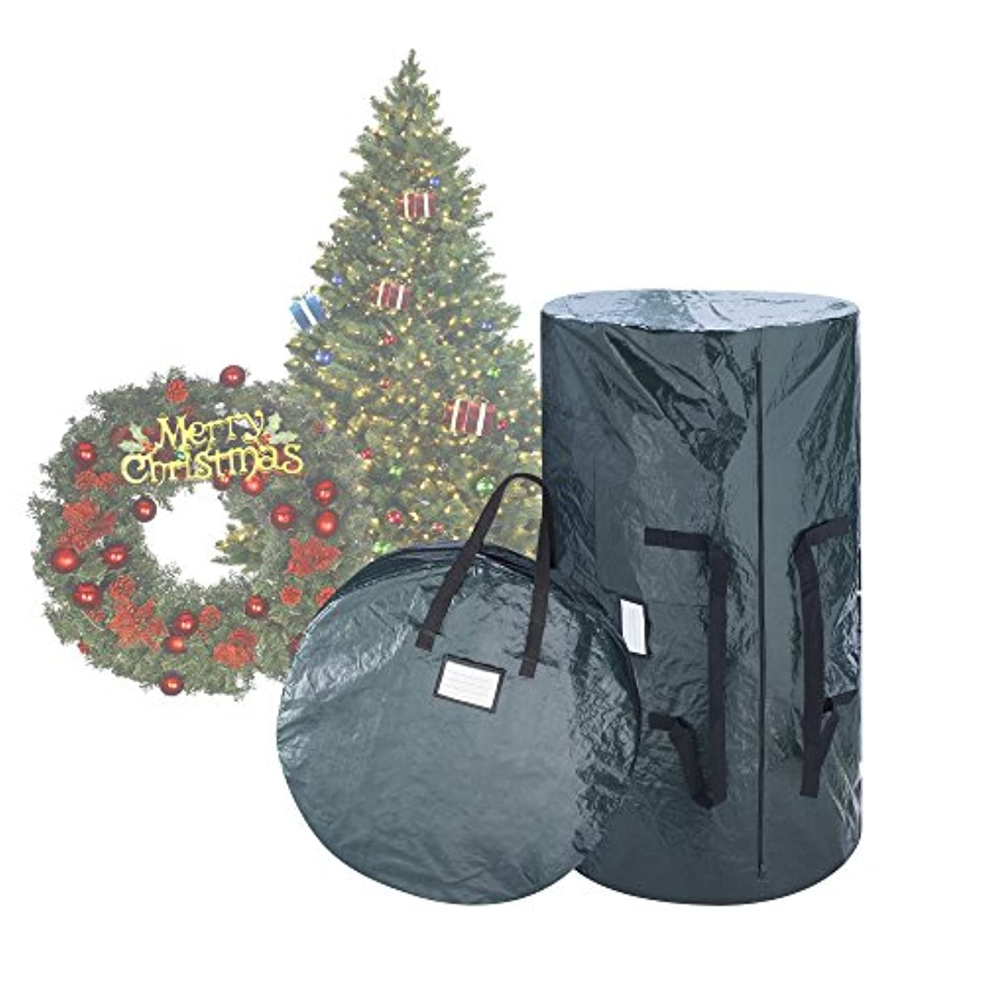 Elf Stor 1018 Combo Gn Deluxe Green Christmas Storage 9 Foot Artificial Trees & 30