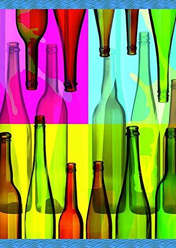 Pop Art Flessen-Decoratieve Kleurrijke Multi kleuren Bier Wijn Abstract Tuin Vlag 30 X 45 Cm