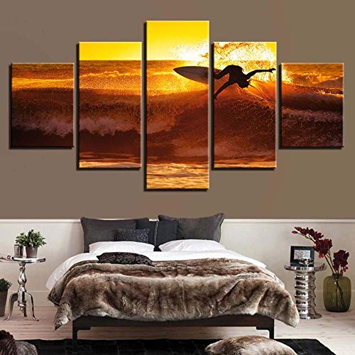 HUAYEXI pintura 5 panel pared arte modular Surfing paisaje para la decoración del hogar sala oficina