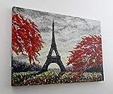 Gemälde Paris Eifelturm Herbst Leinwand Canvas Bild Wandbild Kunstdruck L2189 Größe 100 cm x 70 cm