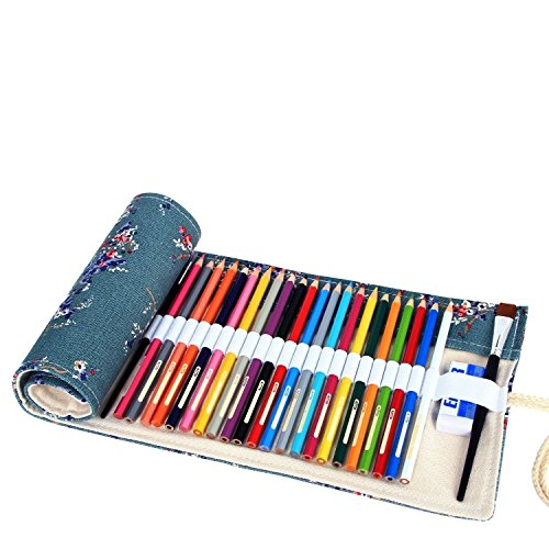 abaría - Estuche Enrollable para 36 lápices Colores, portalápices de Lona - Flor de Ciruelo (no Tiene lápices)