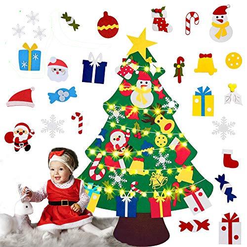 Árbol de Navidad, árbol de Navidad de fieltro, con 30 piezas de adornos y cuerda de luz de 1 m para colgar en la pared, decoraciones de Navidad para niños, suministros de fiesta...