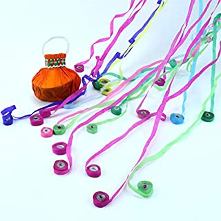 New No Mess Party Streamers, Party Poppers Throw Streamers Colorful Paper Party Streamers with Handle Throw Confetti for Parties Events Party Favors and Shows easy to clean (5 pcs/pack MULTICOLORED)