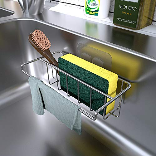 KINCMAX Adhesive Sink Organizer Sponge Holder+Dish Cloth Hanger, 2 in 1, Ideal for Removable Hanging Sink Caddy Brush Holder or Adhesive Sink Rack Dish Drainer, SUS304 Rust Proof,No Drilling