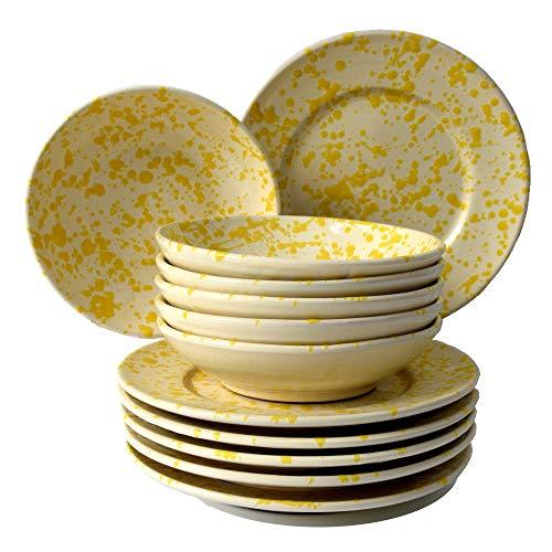 Colì, Geschirrset, 12 Stück, Geschirrset 6 Personen, farbiges Geschirrset, handbemalt gelb, Tischservice für 6 Personen, inklusive 6 Schalen von 20 cm und 6 flachen Tellern von 24 cm.