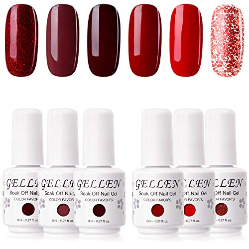 Gellen Gel Nail Polish Kit - Wine and Reds Series Dark Elegance Tone, Pigmented Charimg Nail Art Gel 6 Colors Home Gel Manicure Set