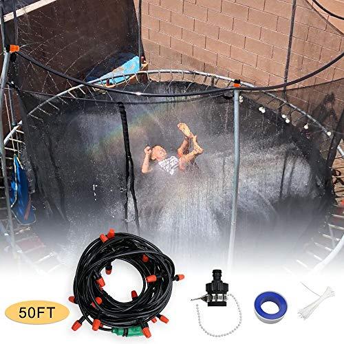 Zdada 15m/50ft Trampoline Play Sprinklers Outdoor-Summer Trampoline-Game-Sprinklers Water Park Sprinklers Outside Kid-Water Sprinklers