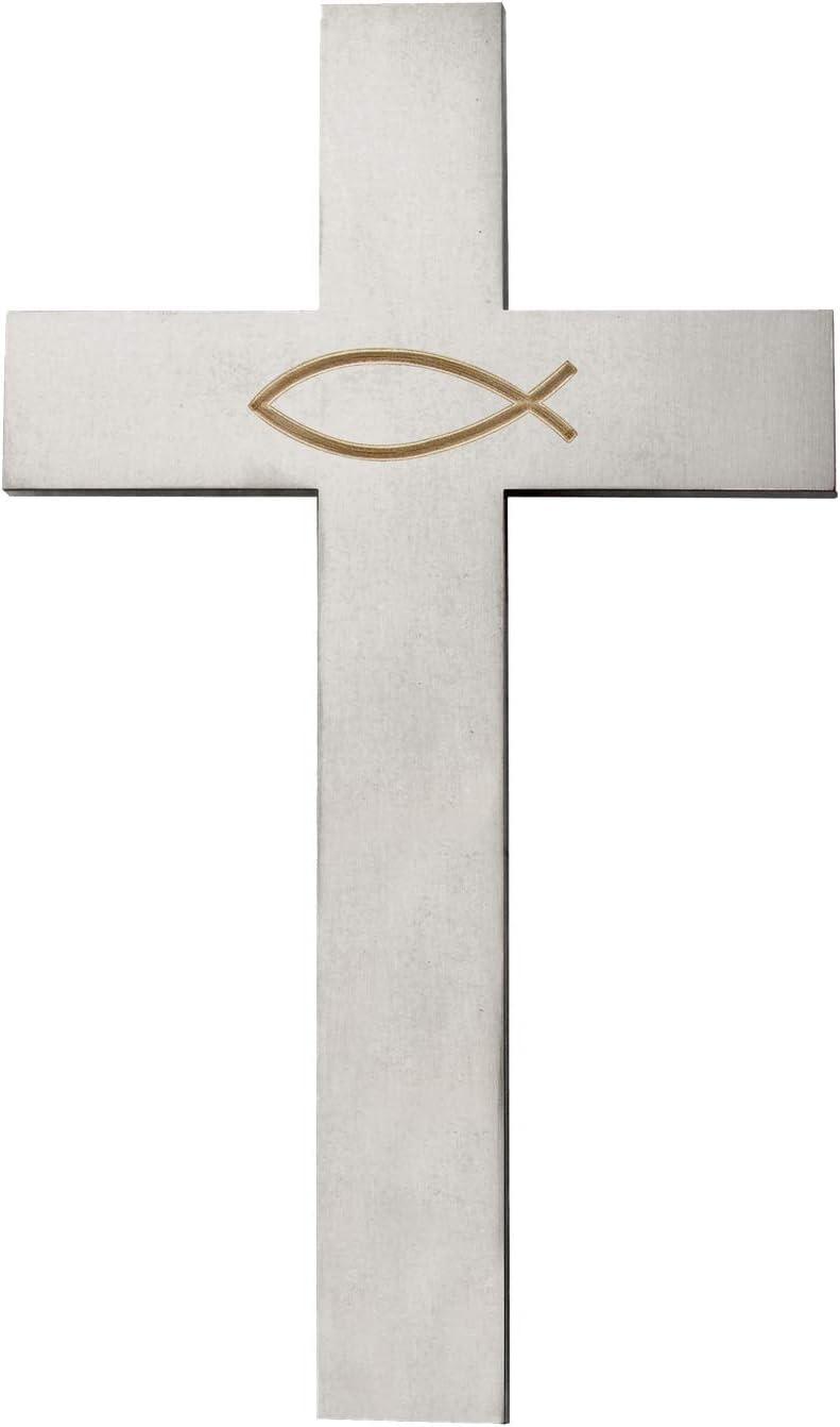 Wandkreuz Bonhoeffer Kruzifix Ichthys Fisch Schiefer Edelstahl Kreuz 21 cm