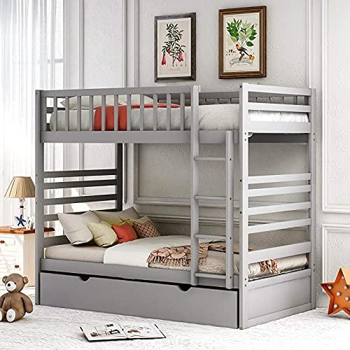 Nieuwste stapelbed Twin Over Twin voor kinderen Twin Bed met onderschuifbed, veiligheidsladder en vangrail, massief houten bedframe