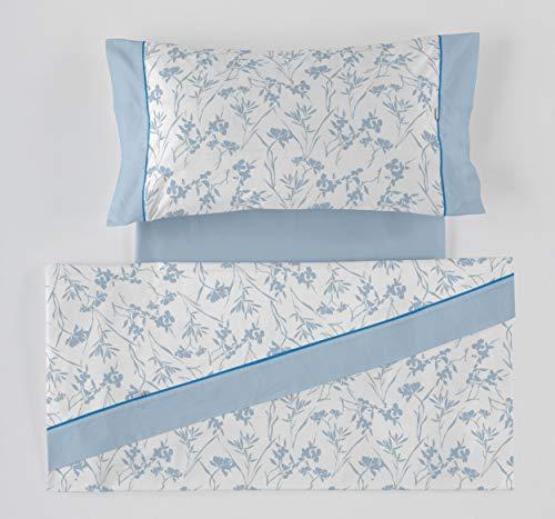 ES-Tela - Juego de sábanas Estampadas Paola Color Azul (4 Piezas) - Cama de 150 cm. - 50% Algodón/50% Poliéster - 144 Hilos