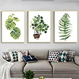 Imikoko Unframed Tropical Green Leaves Art Print,Botanical Wall Art Painting,Signs of Nature Set