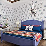 Rollo de papel tapiz Estilo marinero mediterráneo Sala de estar dormitorio oficina TV fondo decoración de la pared 0.53m * 9.5m = 5㎡