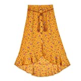 Amy Byer Girls' Ruffle Front Maxi Skirt, Mustard/Red Floral, Small