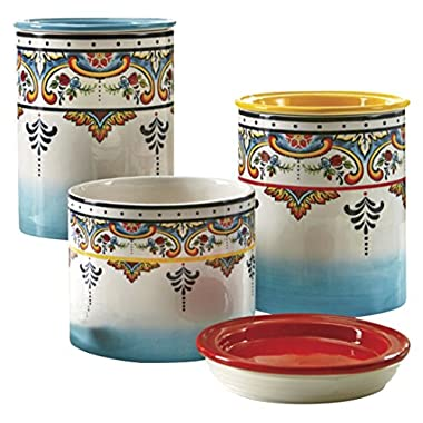 Euro Ceramica Zanzibar Collection Vibrant Ceramic Kitchen Canisters, 3 Piece Set, Spanish Floral Design, Assorted Sizes, Multicolor
