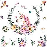 WandSticker4U®- aquarelle stickers muraux fille LICORNE avec des FLEURS (110x110 cm) I oiseau libellule cheval affiche animaux autocollants décoratifs I sticker mural pour chambre d'enfant bébé crèche