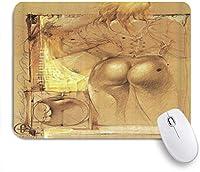 MISCERY マウスパッド 漫画の黄色い髪の美しさセクシーなヒップ 高級感 おしゃれ 防水 端ステッチ 耐久性が良い 滑らかな表面 滑り止めゴム底 24cmx20cm