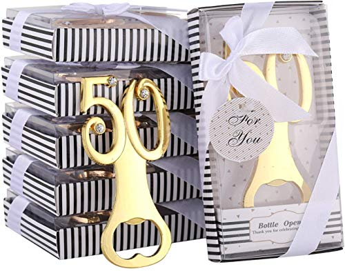 DAJAMAI 18 Packs Creative Bottle Openers for 50th Birthday Party Favors or 50th Wedding Anniversary Party Gifts 50th Birthday Party Gifts Souvenirs Decorations for Guests(50th)