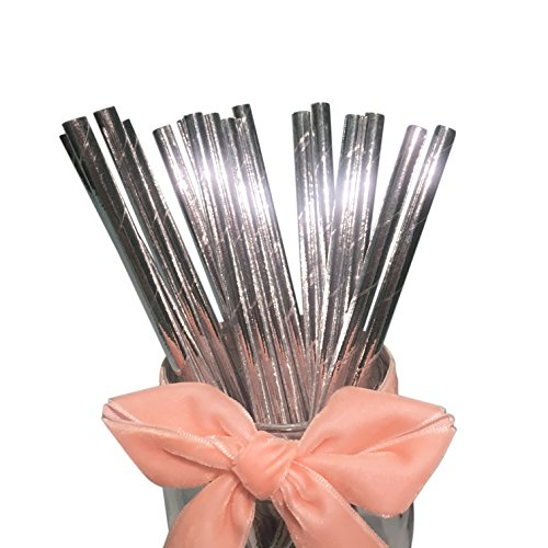 BOFA Eco Tableware Silber glitzernd Papier-Strohhalme biologisch abbaubar, Dekorationen für Party, Geburtstag, Hochzeit,20 cm/7.87 zoll long 100 Stück