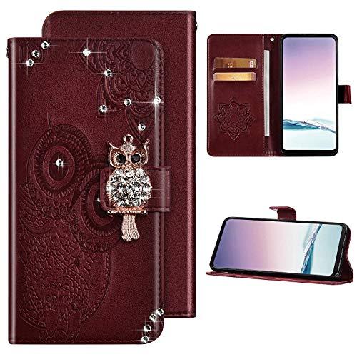 Kompatibel mit Samsung Galaxy A21S Hülle Glitzer Diamant Glänzend Ledertasche Brieftasche Schutzhülle Flip Case,Eule Muster PU Leder Klapphülle Tasche Handyhülle für Galaxy A21S,Rot Braun
