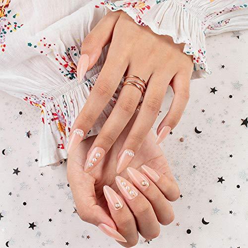 Faux ongles 24 pièces/boîte style goutte d'eau faux ongles mi-longs décor de fausses perles Produits finis portables à porter au quotidien bouts d'ongles