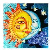 YQQICC 太陽と月フルモザイク絵画ドリル樹脂刺繡5DDiyダイヤモンド絵画手作りクロスステッチ-40x40cmフレームなし