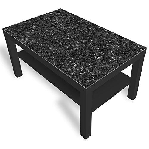 IKEA Lack Beistelltisch Couchtisch 'Granit' Sofatisch mit Motiv Glasplatte Kaffee-Tisch von DEKOGLAS, 90x55x45 cm Schwarz