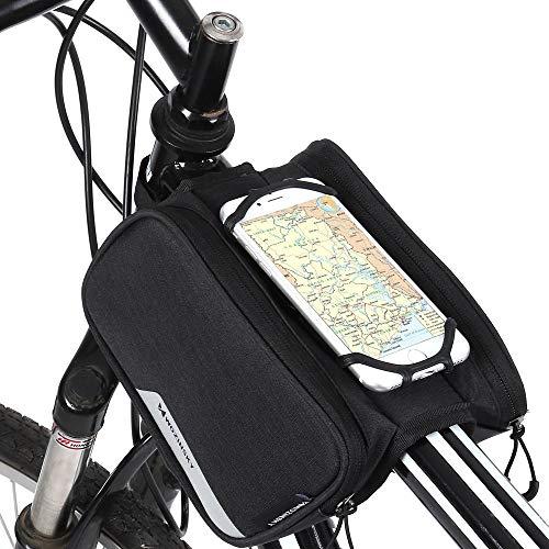 WOZINSKY Bolsa para bicicleta con soporte para teléfono móvil, máx. 6,5 pulgadas, 1,5 L