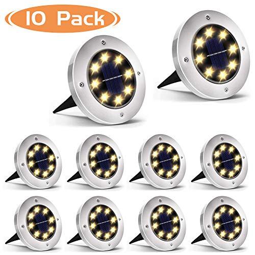 Luces Solar de Tierra Luz 8 LED, WZTO 1000LM Luces Solares Jardin Impermeable Lámpara en el Exterior, Patio, Entrada de Garaje, Césped, Decoración de Camin