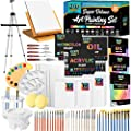 Keff Creations Professional Deluxe Painting Kit Contains all Painting supplies and accessories including paint tubes, table top easel, stretched canvas more. Great Painting Set for Beginners or Artist