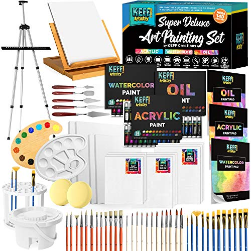 Art Supplies Set, Painting Supplies and Painting Accessories Painting Kits for Adults. Acrylic Paint, Watercolor Paint, Oil Paint Set. Includes Art Easel, and All Art Supplies for Adults.
