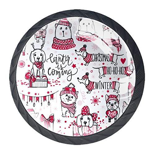 LUPIN 4PCS pomelli per armadio da cucina e cassetti con maniglia a muro per appendere cappotti a forma di cane di Natale