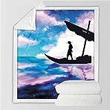 XCMMK La tela escocesa del lecho de la manta de lana de cordero de doble capa 3D es ligera y cómoda Dibujos animados cielo estrellado barco personaje Medio 125x150cm (49.2x59 pulgadas) Regalos de vaca