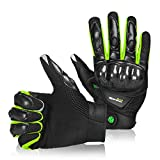 BORLENI Breathable Touch Screen Motorcycle Full Finger Gloves for Men Women Padding Hard Knuckle Cycling Motorbike ATV Hunting Riding Climbing Gloves