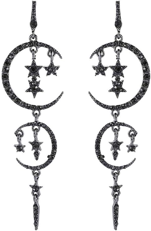 WEILYDF Charming Pentagram Moon Pendant Earrings Stud Earrings Long Drop Dangle Party Jewelry Gifts for Woman Girls,Black
