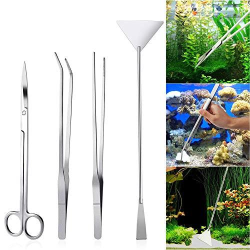 Queta 4 Stück Edelstahl Aquarium Aquascaping Kit und Scheren-Spatel-Werkzeug-Set