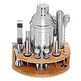 DEKINMAX 12-Piece Bartender kit with stand, Stainless Steel Cocktail Shaker set-Martini Shaker, Jigger, Strainer, Bar Mixer Spoon, Tongs, Bottle Opener,Liquor Pourer,Bottle stopper