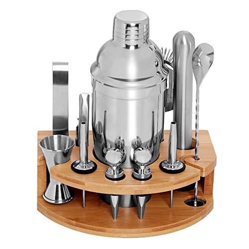 DEKINMAX 12Piece Bartender kit with stand Stainless Steel Cocktail Shaker setMartini Shaker Jigger Strainer Bar Mixer Spoon Tongs Bottle OpenerLiquor PourerBottle stopper