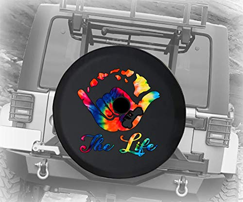 Spare Tire Cover Hawaiian Island - Tiedye Colorful fits 2018 2019 2020 JL Accessories with Backup Camera 32 Inch Backup Camera