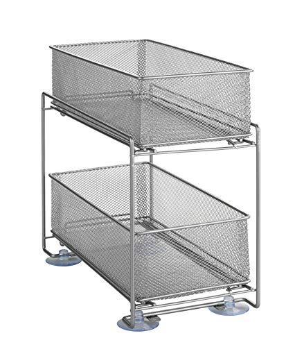 Wenko Küchen-Schrank-Ordnungssystem, Gitter-Regal mit Korb-Auszug, 2 Etagen, Silber-Matt, 35 x 33,5 x 18,5 cm