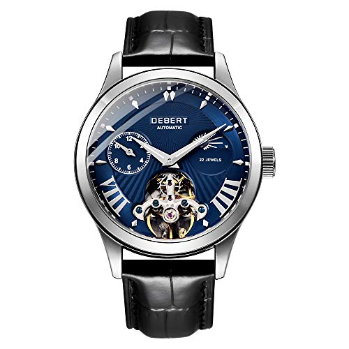 Mens Automatic Mechanical Watch Waterproof Luminous Chronograph Leather auto Movement Watches for Men 6035-LASSL