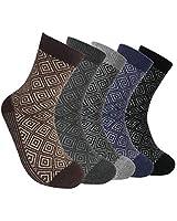 5 Pairs Mens Winter Warm Wool Cotton Calf Socks,Diamond Design,Black,Blue,Grey,Brown,Size:UK 6-11 EUR 39-42