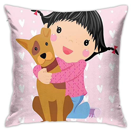 Kissenbezug Kissenbezug ,Cute Little Girl and Dog Hugging and Smiling Doodle Print with Hearts Backdrop ,18 x 18 Zoll