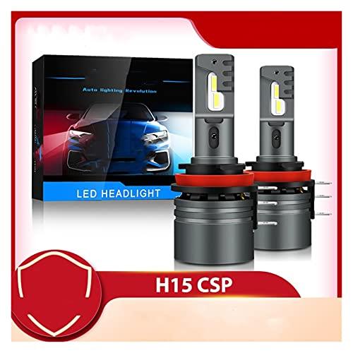YUYAOYAO 2pcs H15 LED Bulbo CSP Faro de Coche Alto día de Haz conduciendo la luz de Funcionamiento 1 2V 6000K Lámpara Auto Blanca Ajuste para VW Apto para Audi Fit para BMW (Socket Type : H15)